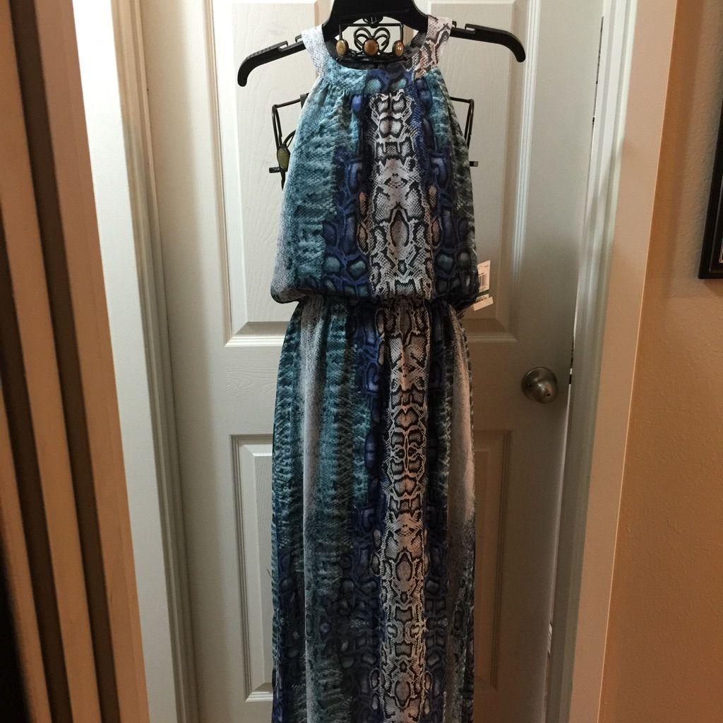 New long snakeskin bluegreen pattern soft dress products