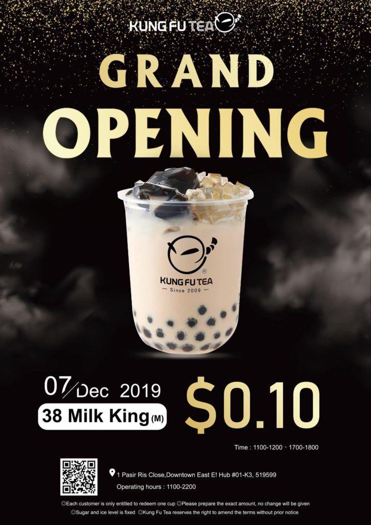 Kung Fu Tea SG 38 Milk King at 0.10 Grand Opening