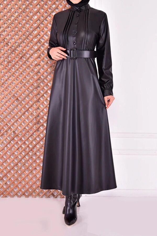 فستان أسود جلد تسوق أون لاين حجاب مودانيسا أزياء محجبات ملابس محجبات فساتين جلباب عباية ملابس فستان تونيك فستان Dresses Dresses With Sleeves Fashion