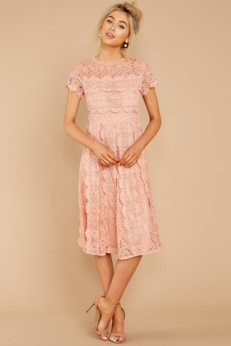 bdfe3f5d32fa2 Elegant Pink Lace Dress - Short Sleeve Lace Midi Dress - Dress - $88 – Red  Dress Boutique