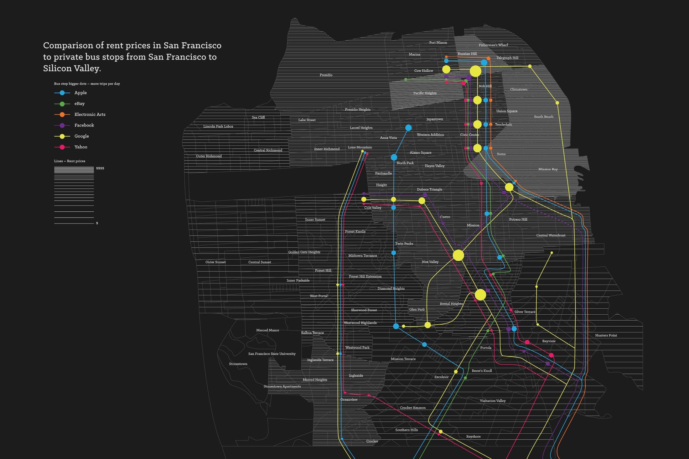 Map Shows Sf Rent Prices Vs Shuttle Locations The Bold Italic San Francisco Rent Prices Map Infographic Map