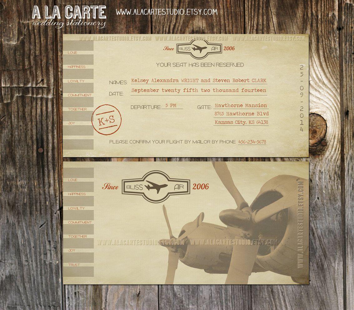 Vintage Airline Ticket Invitation -Destination Wedding