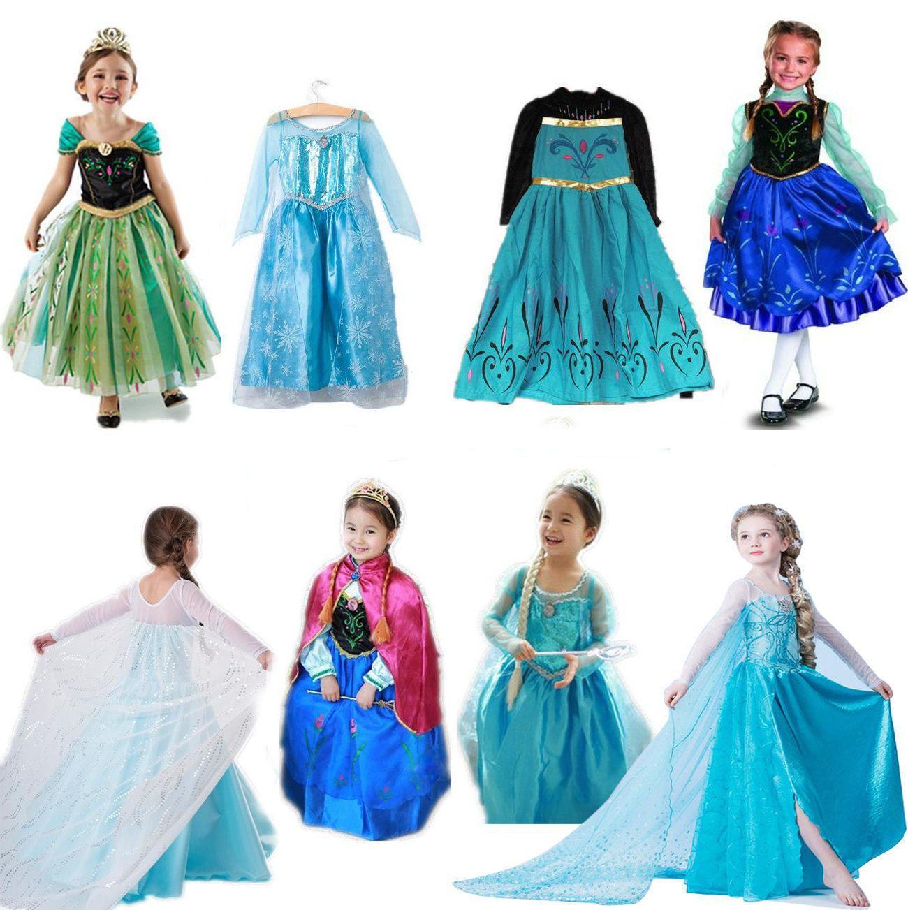 Kids Girl Elsa Frozen Dress Cosplay Costume Princess Anna Party ...