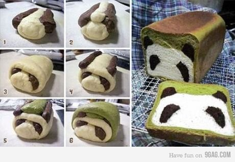 Steps in making a panda bread..... for @Scott McGlon