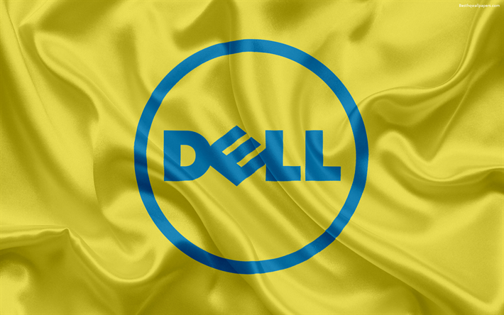 Download wallpapers Dell, emblem, Dell logo, yellow silk