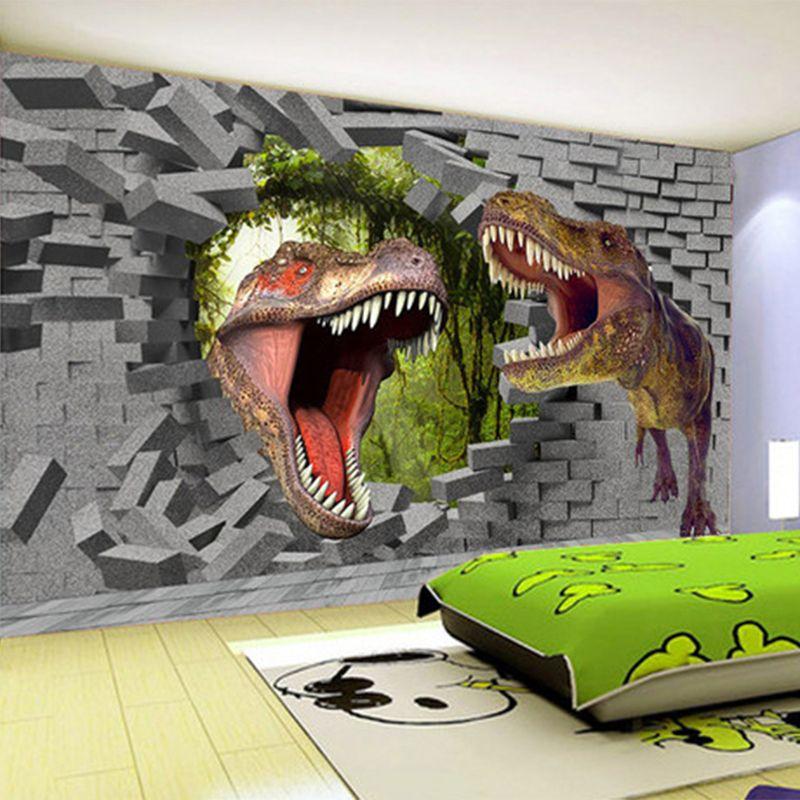 Papel De Parede 3d Stereo Cartoon Dinosaur Broken Wall Mural Wallpaper Kid S Room Living Room Backdrop Wall Decor Wall Papers 3d Affiliate Inredning