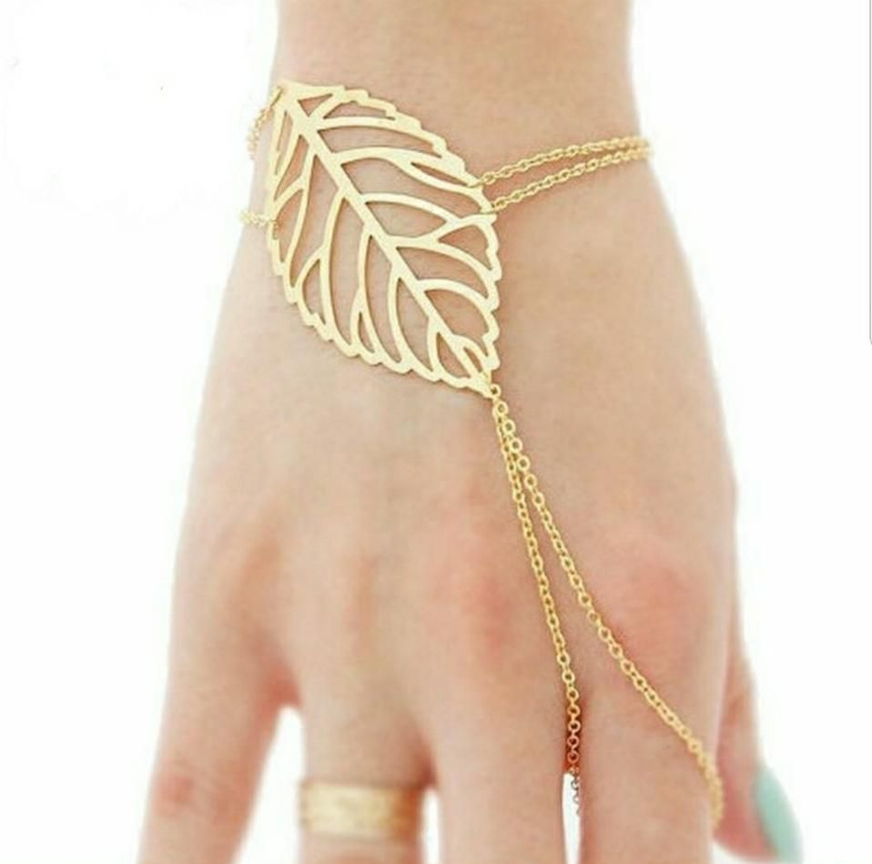 Hollow leaves finger bangle u chain products pinterest