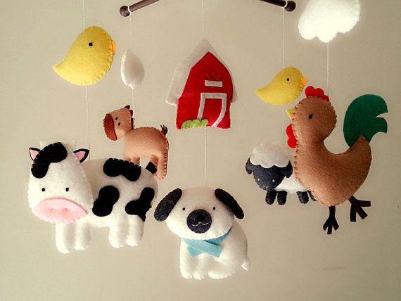 Móvil de cuna granja móvil móvil de animales de bebé