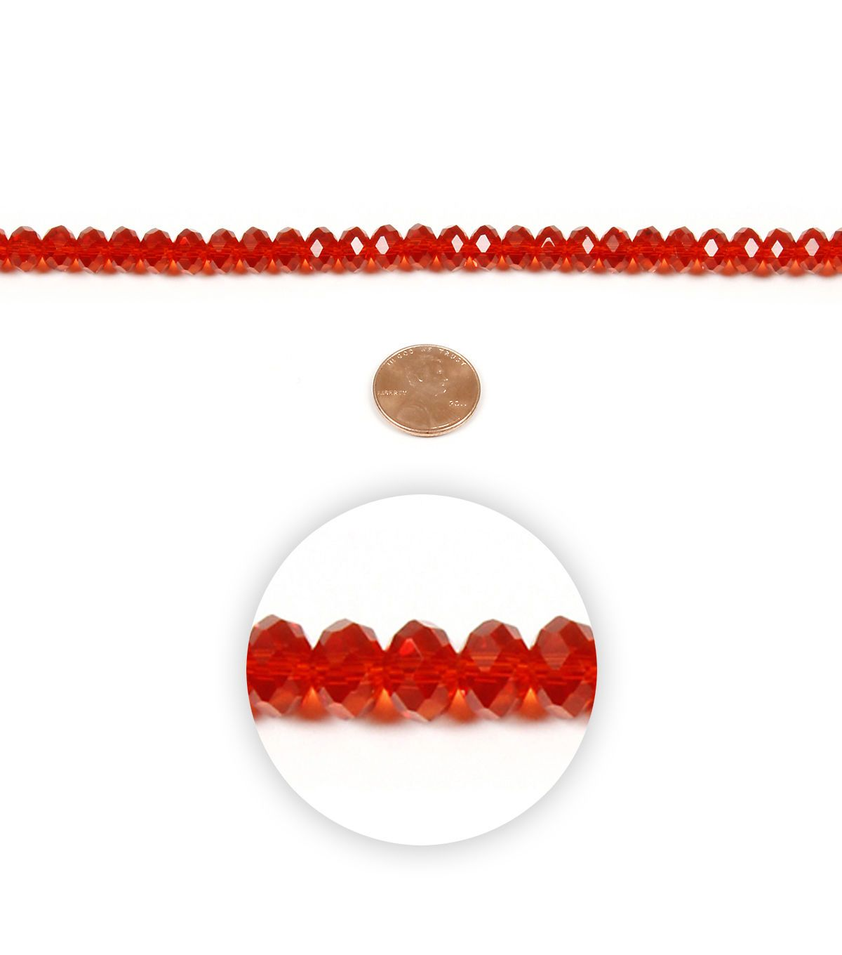 Strand Rondell Crystal Bead Red