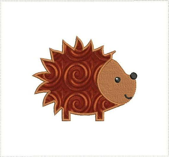 Cute Hedgehog Applique Machine Embroidery Designs 4x4 And