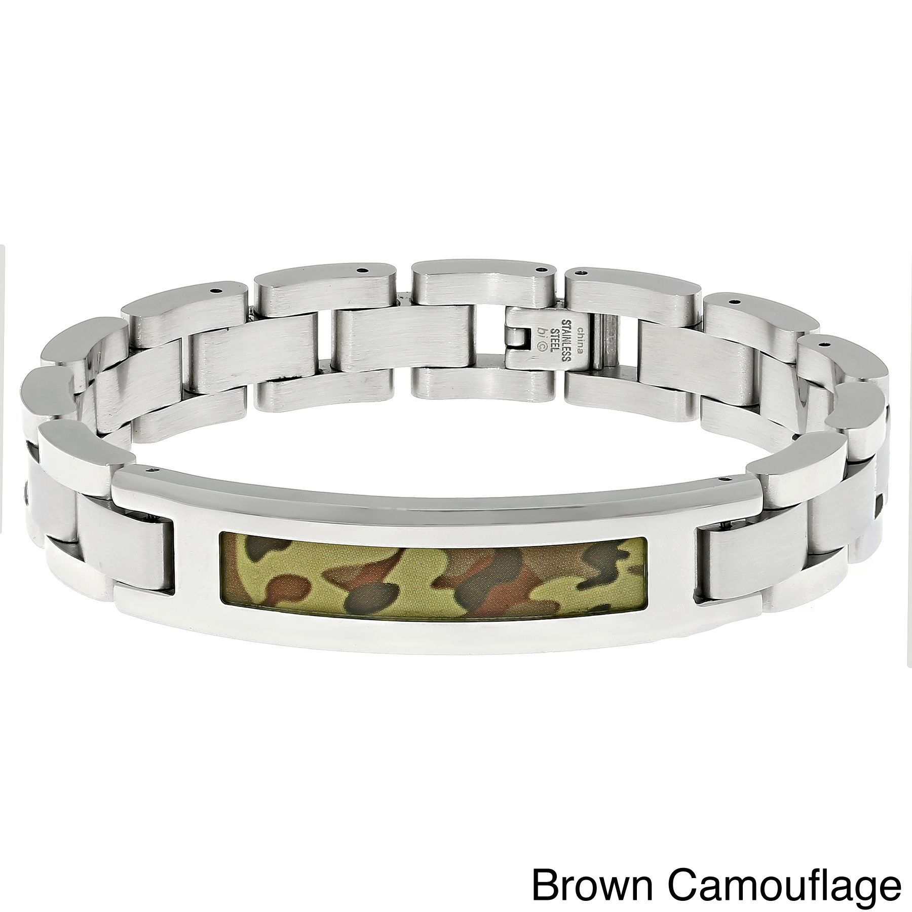 Stainless Steel Link Bracelet with Camouflage Accent (Brown Camouflage Link Bracelet), Men's, Size: 8.5 Inch, White