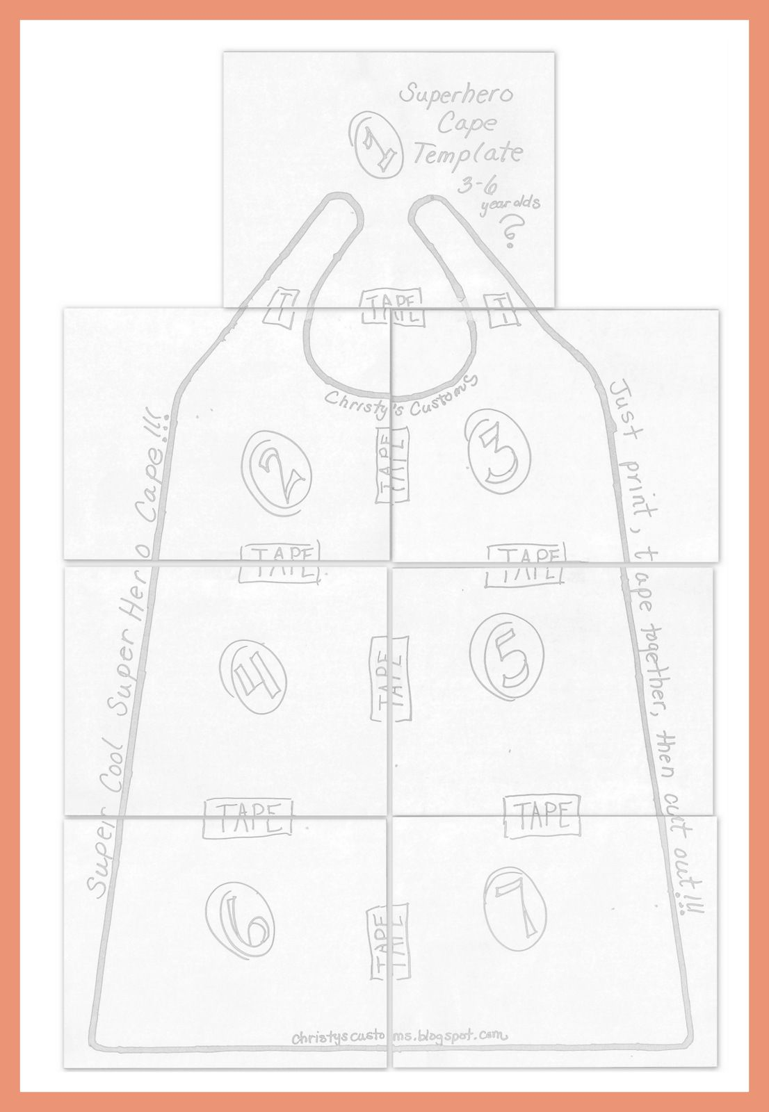 Pattern for childs cape diy superhero capes printable pattern for childs cape diy superhero capes printable templates included pronofoot35fo Image collections