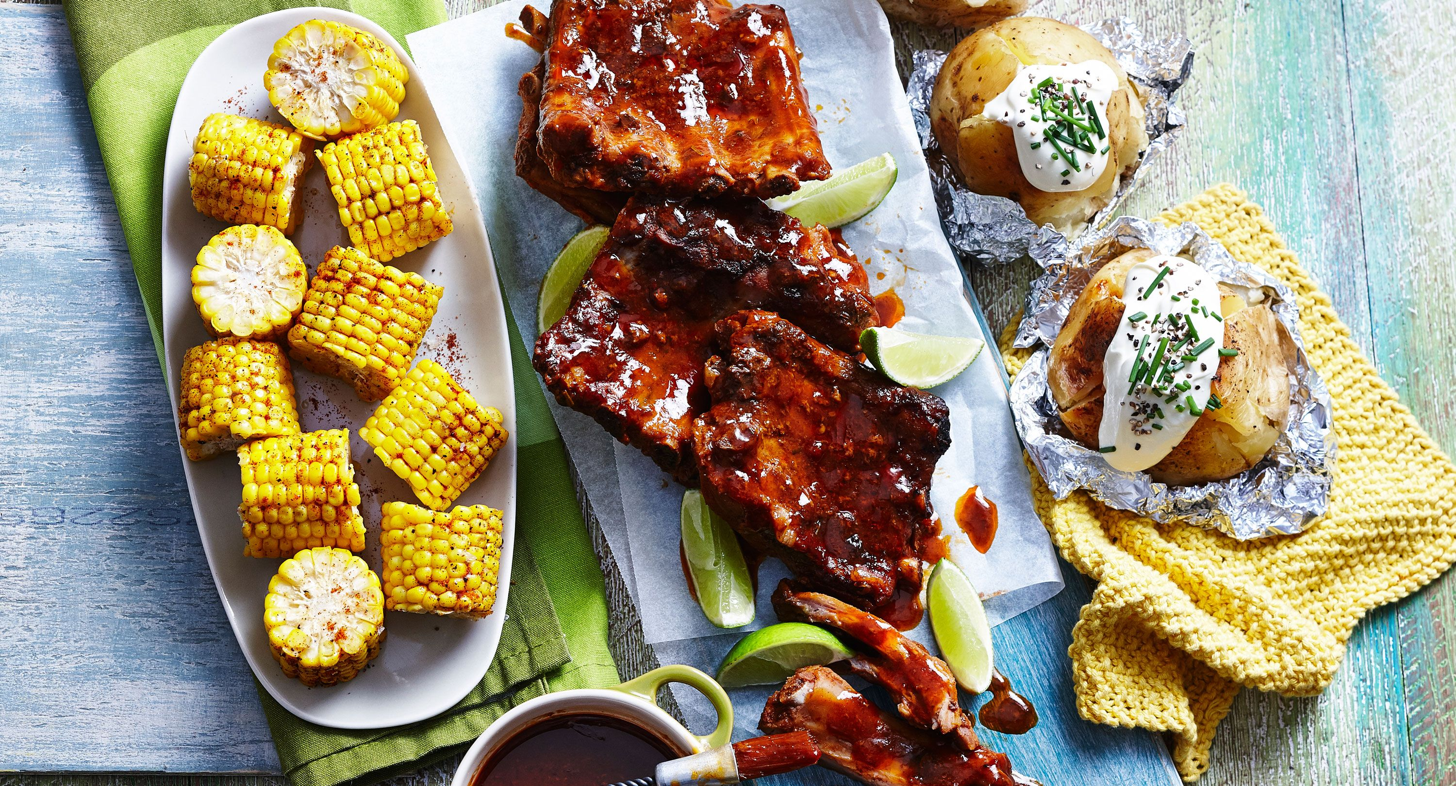 Slow Cooked BBQ Ribs with Corn