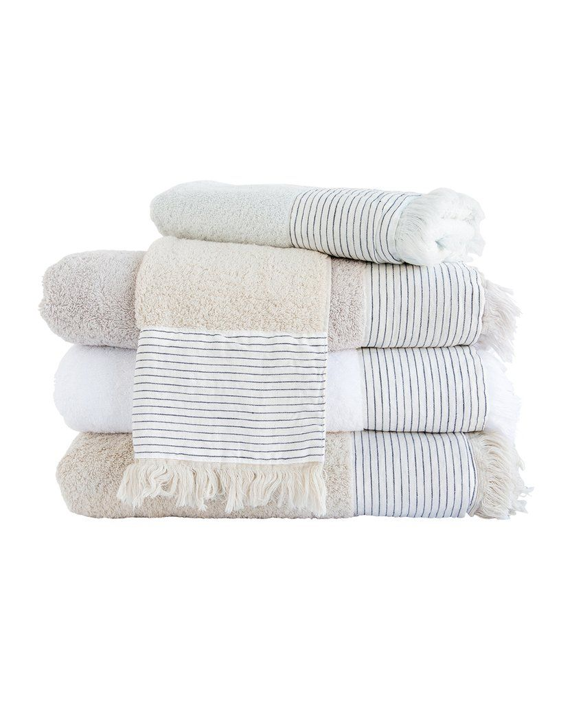 Rockport Bath Collection White Tip Towel Bath Linens Candle