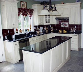 imagine with white granite on wall cabinets, dark on island and