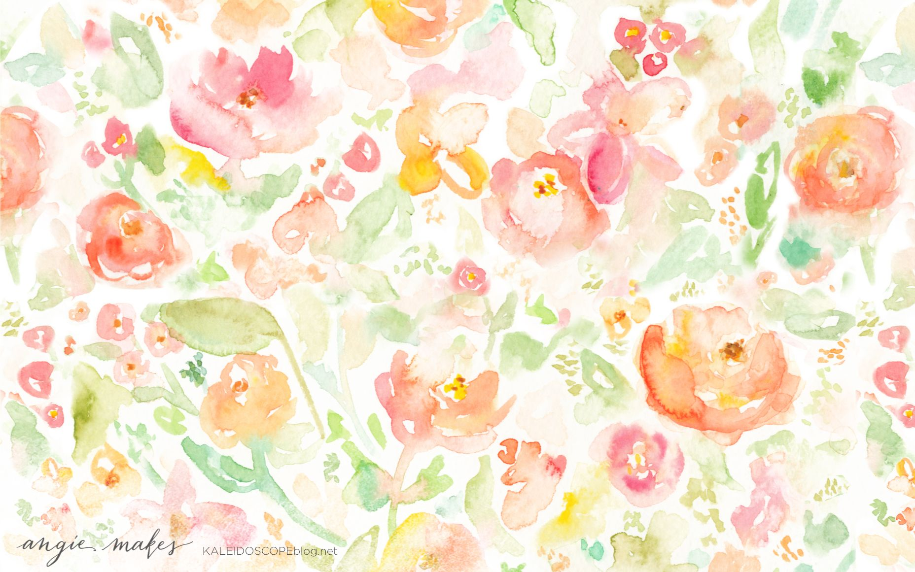 Pink Yellow Green Coral Watercolour Floral Flowers Desktop