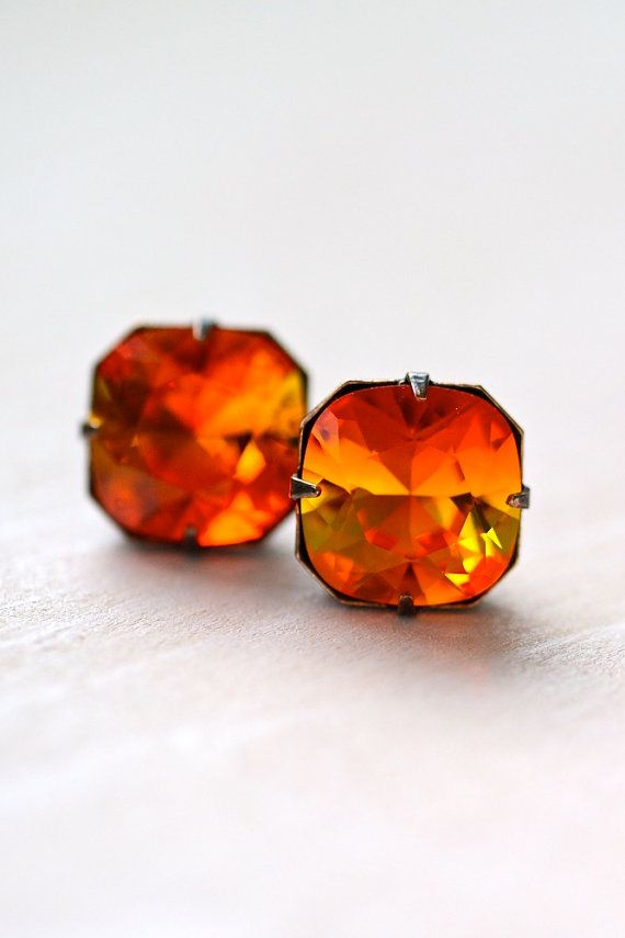 Swarovski Crystals In Mexican Fire Opal Post Crystal Earrings Sterling By Laralewis