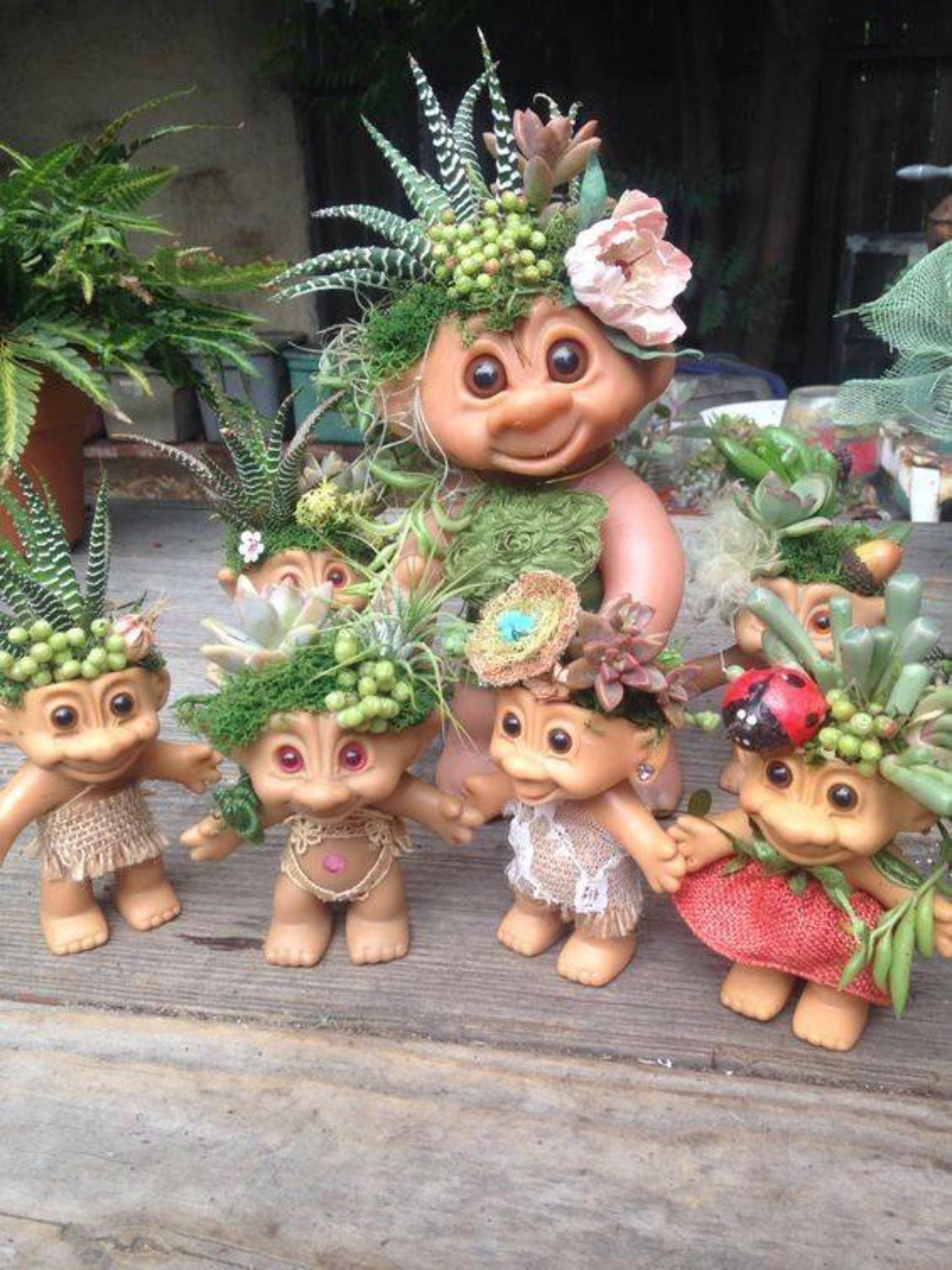 Troll dolls upcycled succulent holder #succulentterrarium