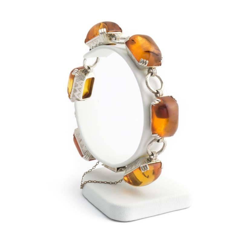 Aurora Patina Fraaie zilveren art deco armband met zes grote barnstenen