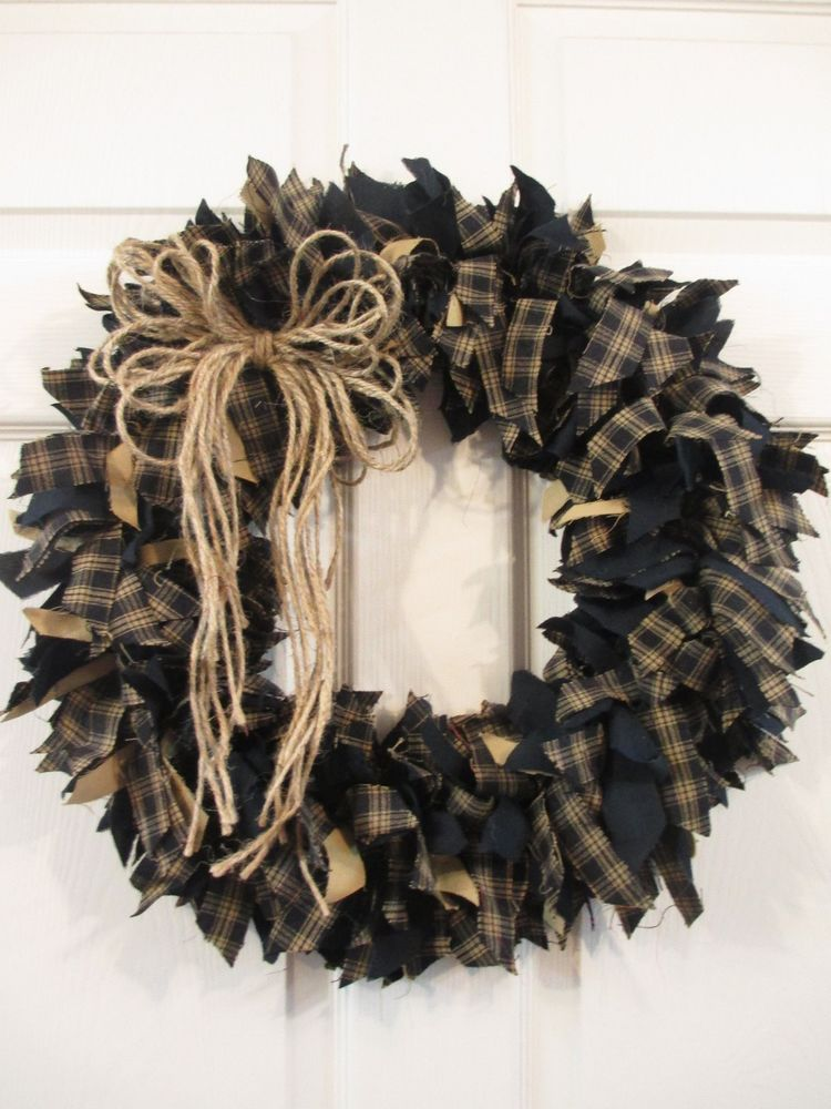 Handmade Primitive Fabric Rag Wreath Fall Autumn Black Dark Navy Tan WLD
