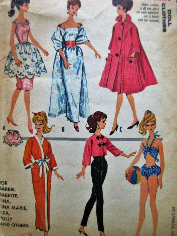 Vintage McCall\'s 6260 Sewing Pattern, Fashion Doll Wardrobe, Teenage ...