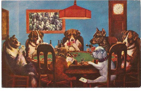 Dogs Playing Poker Postcard Art Dogs Playing Poker Dog Art