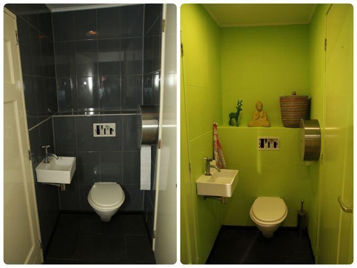 Ik heb de muurtegels van ons toilet geverfd voor en na kleur