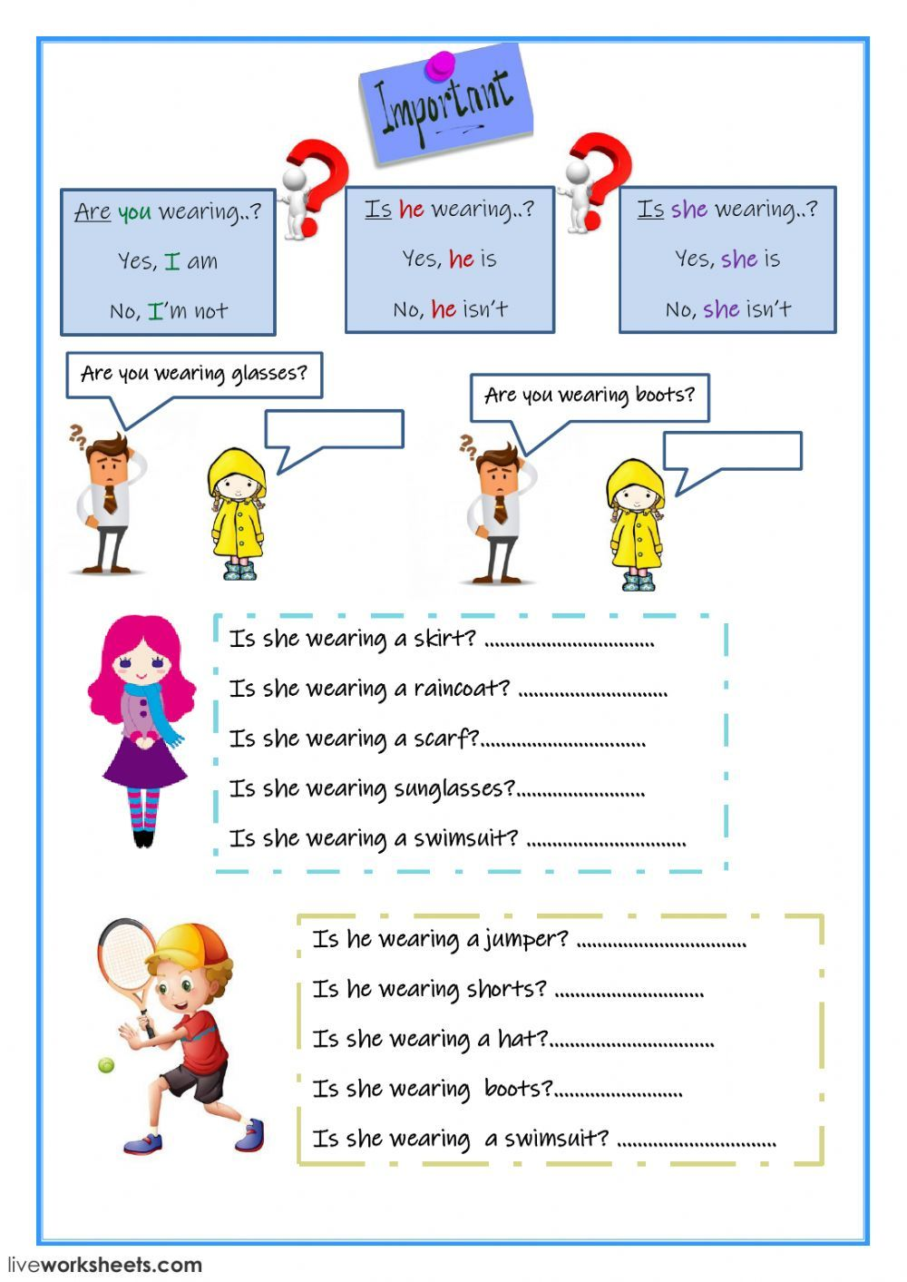 The clothes interactive and downloadable worksheet. You can do the exercises  online or download the worksh…   English as a second language [ 1413 x 1000 Pixel ]