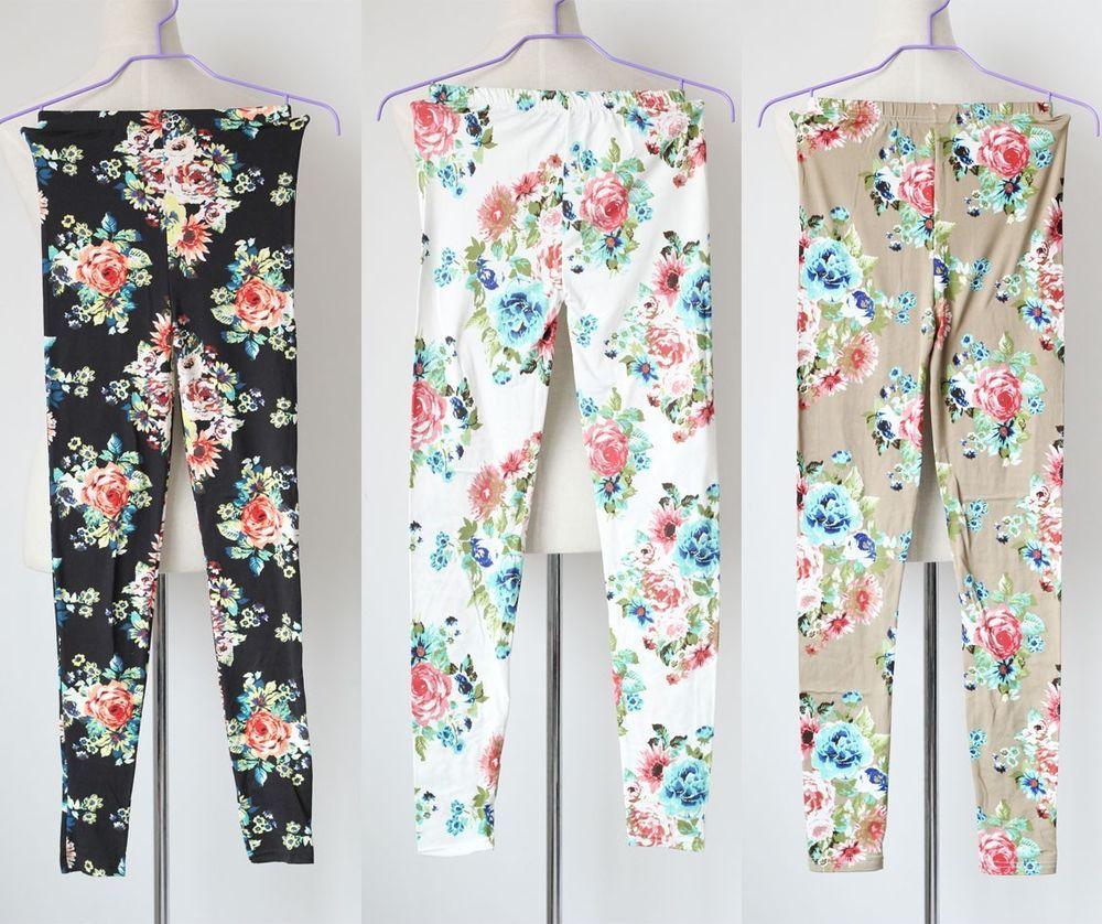 sexy flower print legging fashion legging skinny spring stretchy pants tights $7.53