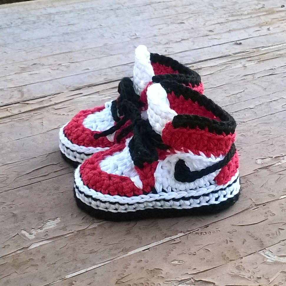 8b43ad9e2 Air Jordans sneakers crochet pattern. Super cool!!!  crochet  crochetboots   babyboots