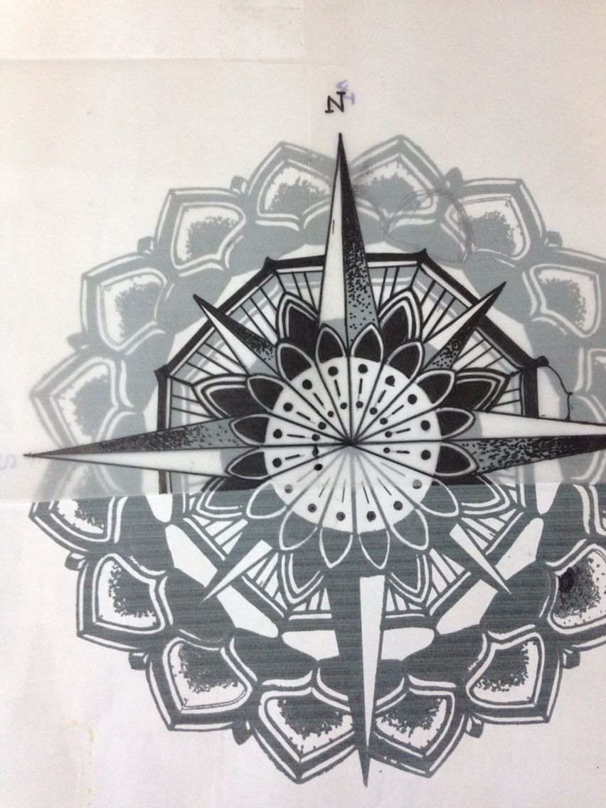 tatouage rose des vents mandala. Black Bedroom Furniture Sets. Home Design Ideas
