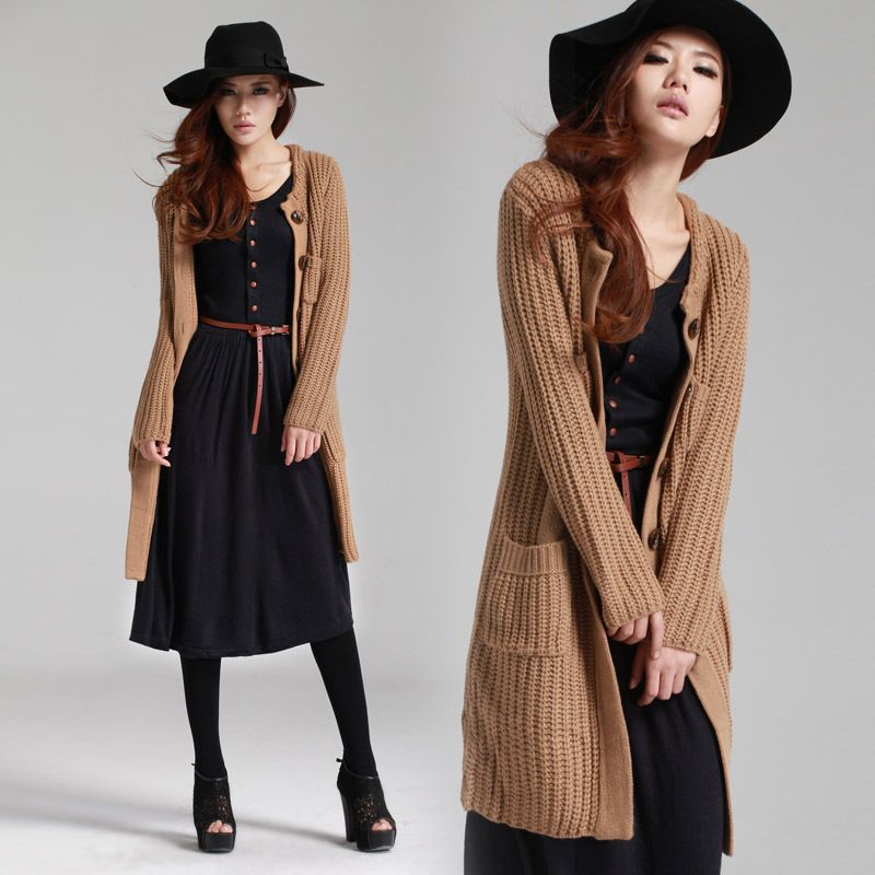 The simple Bangzhen coarse lines thick cardigan sweater