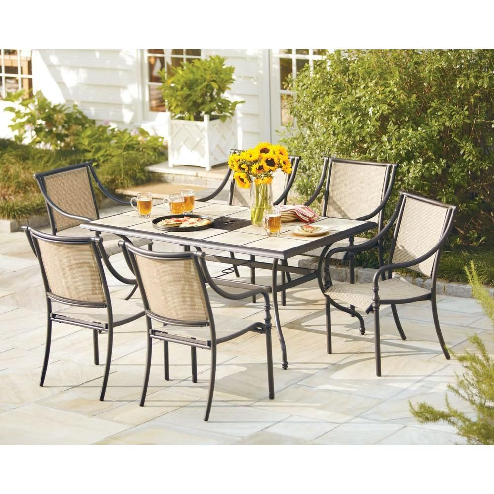 Home Depot Hampton Bay Andrews 7Piece Patio Dining Set On Sale