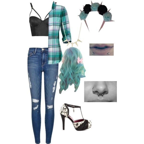 Feelin blue? by bribloodthirsty on Polyvore featuring polyvore, fashion, style, The North Face, Topshop, Frame Denim, Iron Fist, Blue, pastel, piercings and alternative
