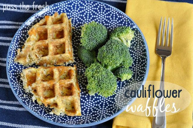 Pass the Fresh: Cauliflower Waffles recipe { author has never eaten them for breakfast as she treats them more as a fritter w lunch/dinner ... definitely sound interesting }