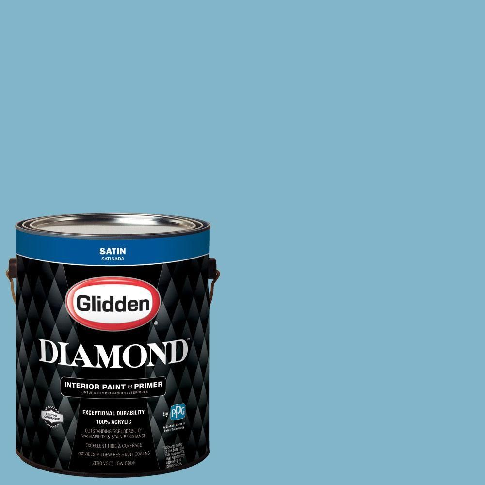 Glidden Diamond 1 gal. #HDGB46 Mayflower Blue Satin Interior Paint with Primer