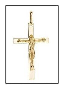 9ct Yellow Gold Solid Cross (Very High Quality) - Made in Italy (Pendant Only)