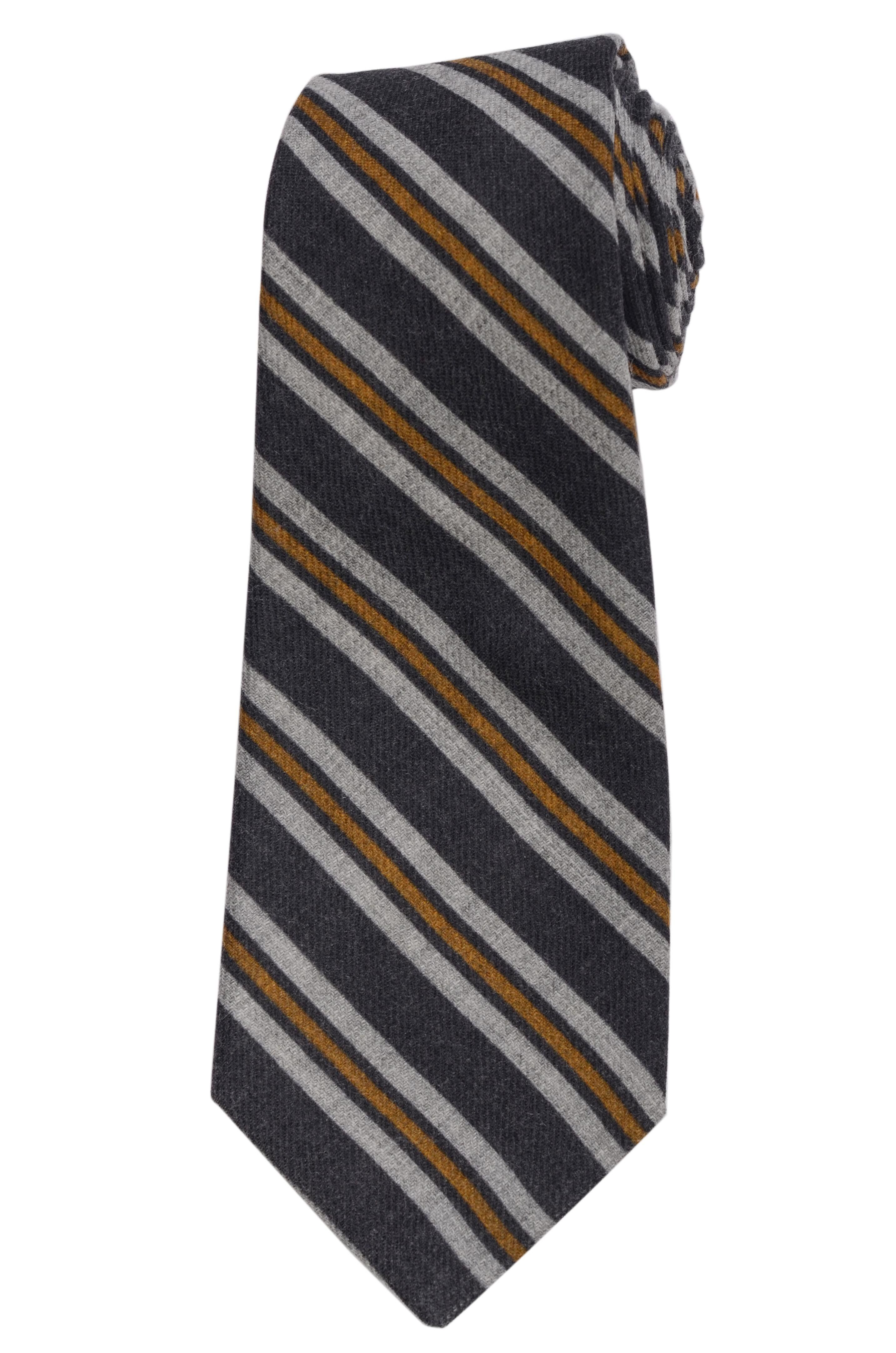 82e03d78a16a KITON Napoli Hand-Made Seven Fold Blue Narrow-Striped Wool-Silk Tie NEW
