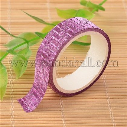 Check Pattern DIY Scrapbook Decorative Glittering Adhesive Tapes DIY-D013-04-1