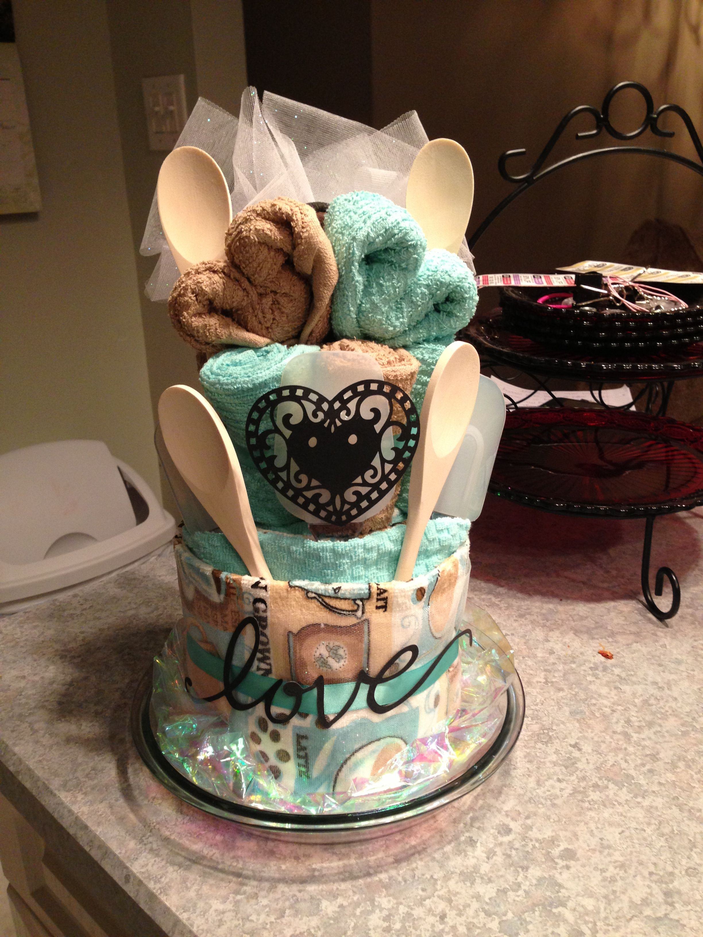 dish towel cake for a bridal shower