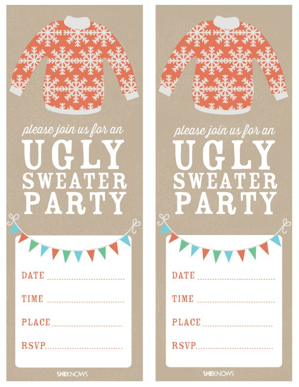 Ugly Sweater Party Ugliest Christmas Sweaters Party Invitations - Ugly sweater christmas party invitations template