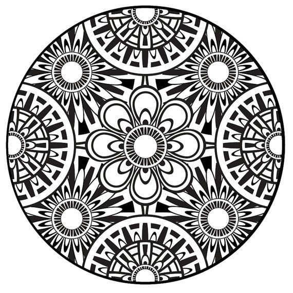 Coloring Page Mandala Instant PDF Download Printable Art