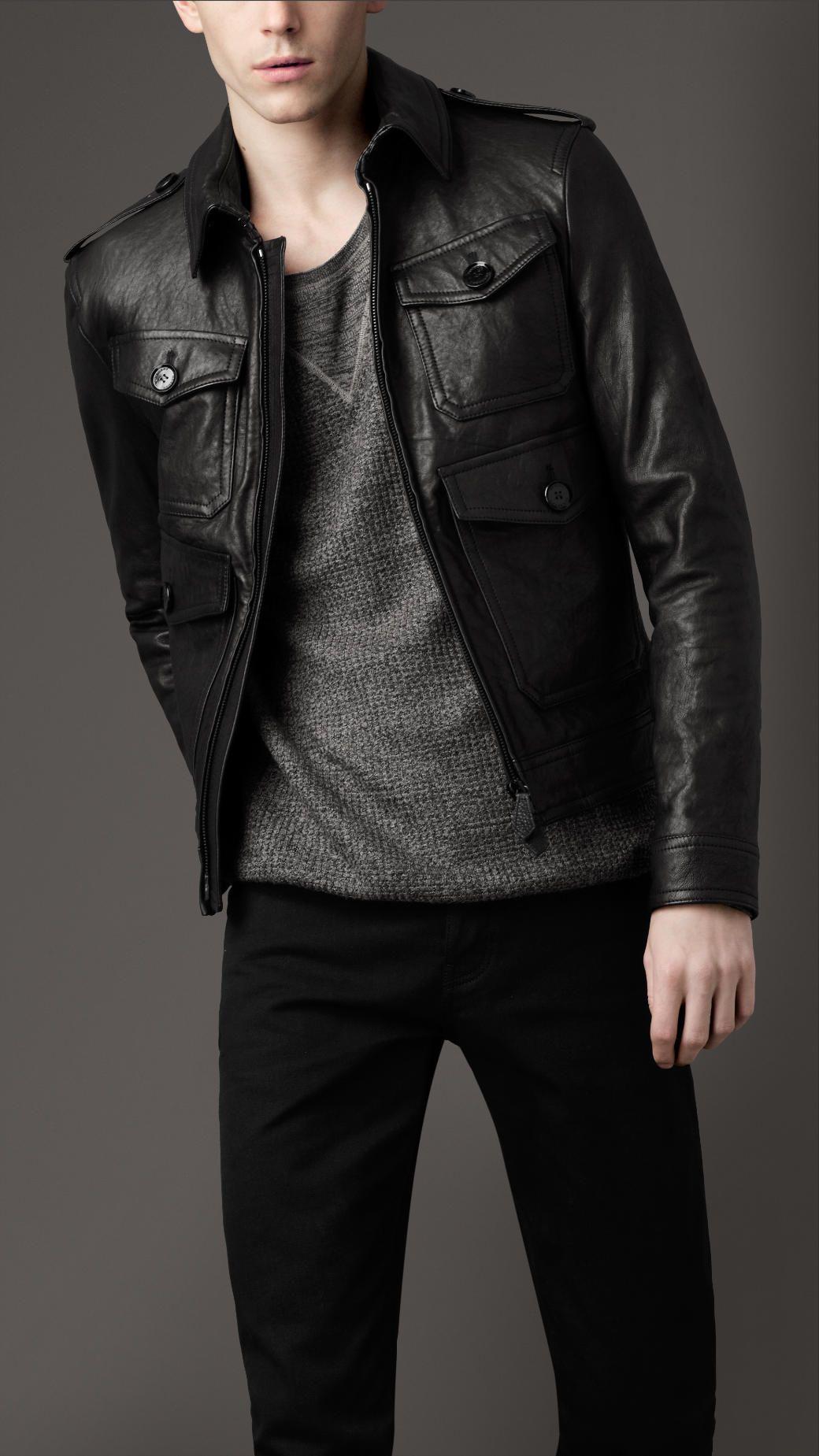 Men S Jackets Leather Bomber Jackets Burberry Official Leather Jacket Leather Jacket Men Mens Outfits [ 1849 x 1040 Pixel ]