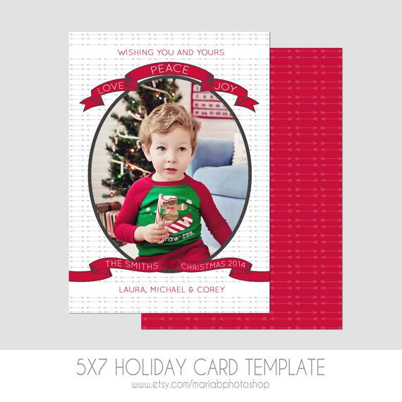 5x7 Christmas Card Template   Front and Back  by MariaBPhotoShop
