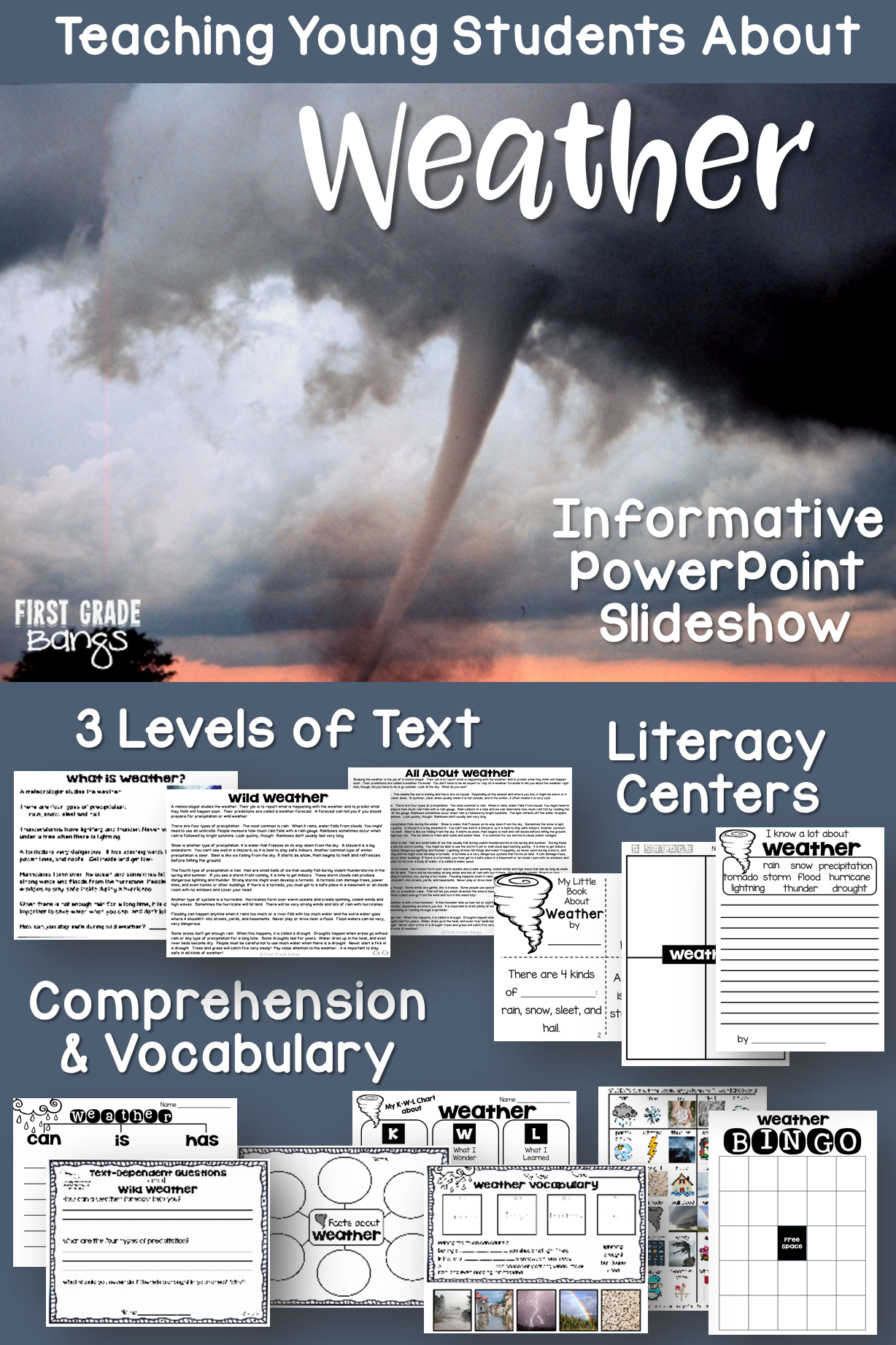 Powerful vocabulary slideshow, close reading texts, and lots of printables teach young students all about weather! #weather #science #closereading #kindergarten #firstgrade #secondgrade