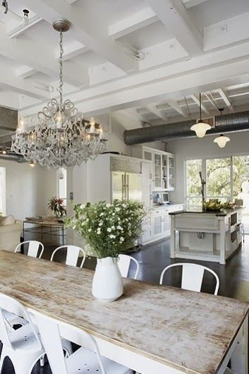 White Distressed Dining Table - Foter | Dining room design ...