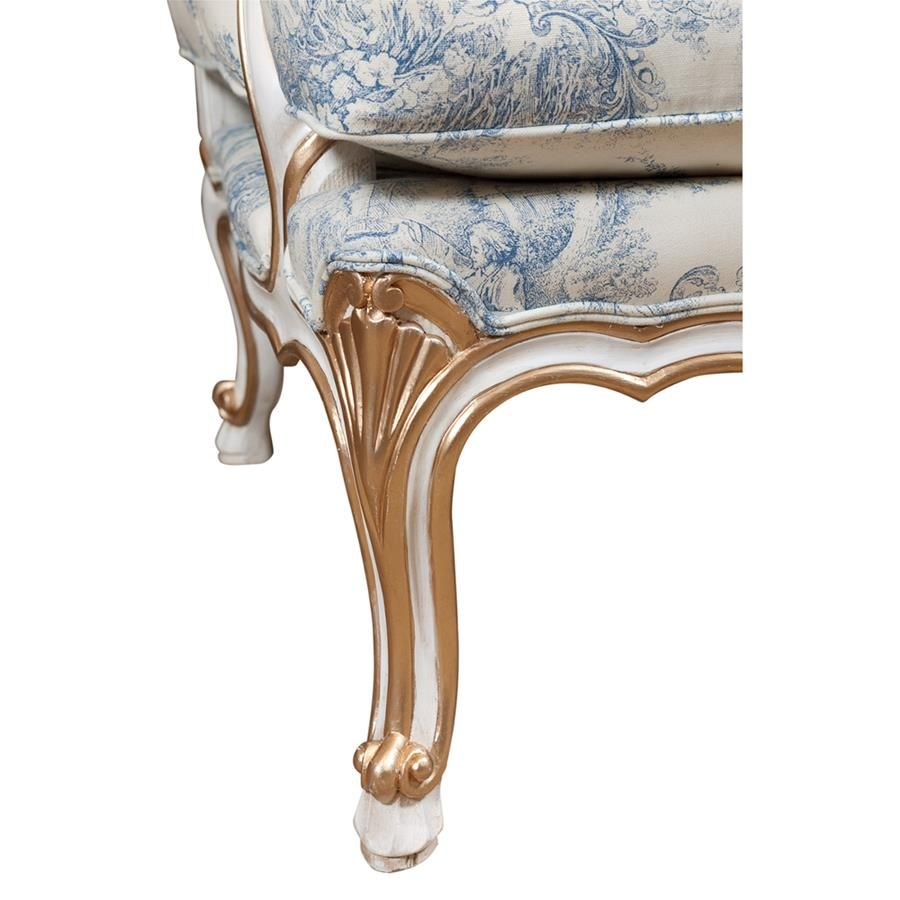 Louis Xv Bergere Antique White With Gilding French Provincial