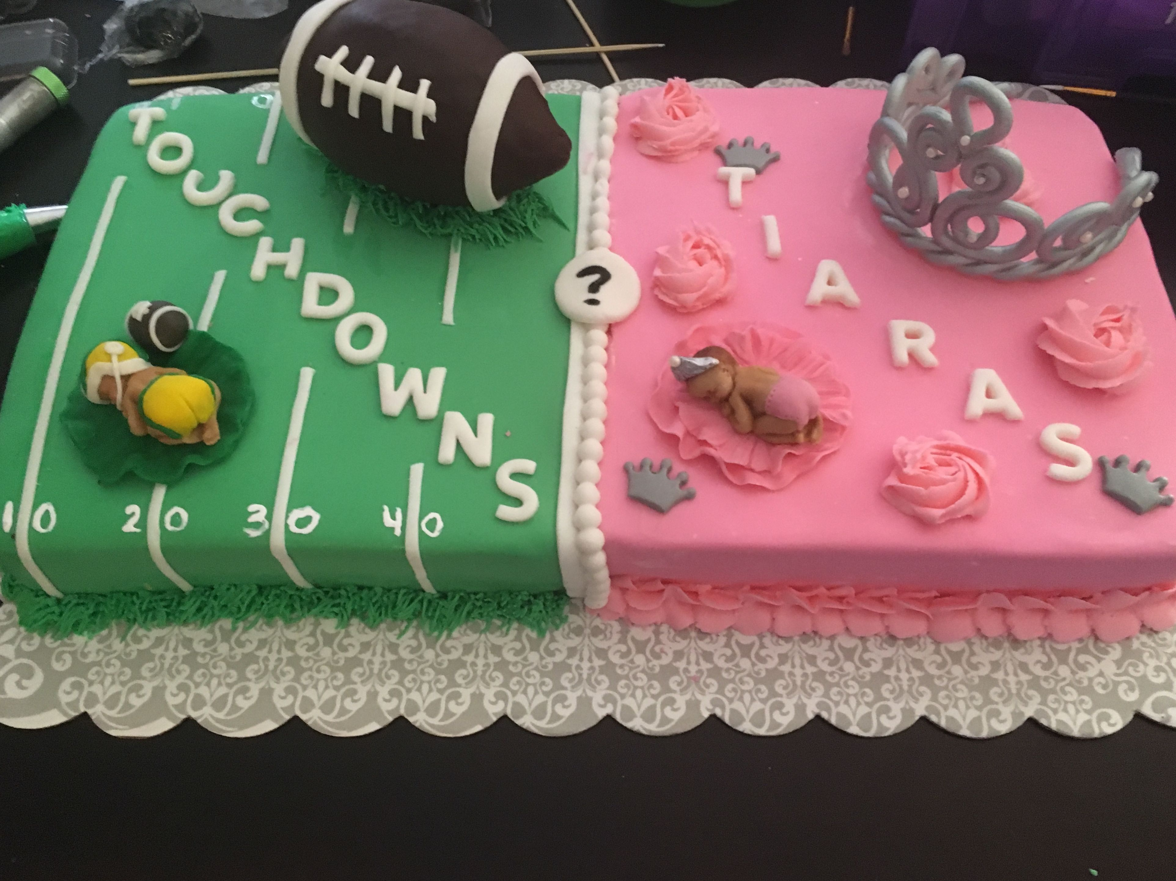 Touchdowns Or Tiaras Cake Gender Reveal Gender Reveal Cake Gender Reveal Party Theme Gender Reveal Party Games