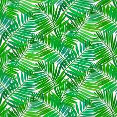 Seamless pattern with tropical palm leaves vector art illustration