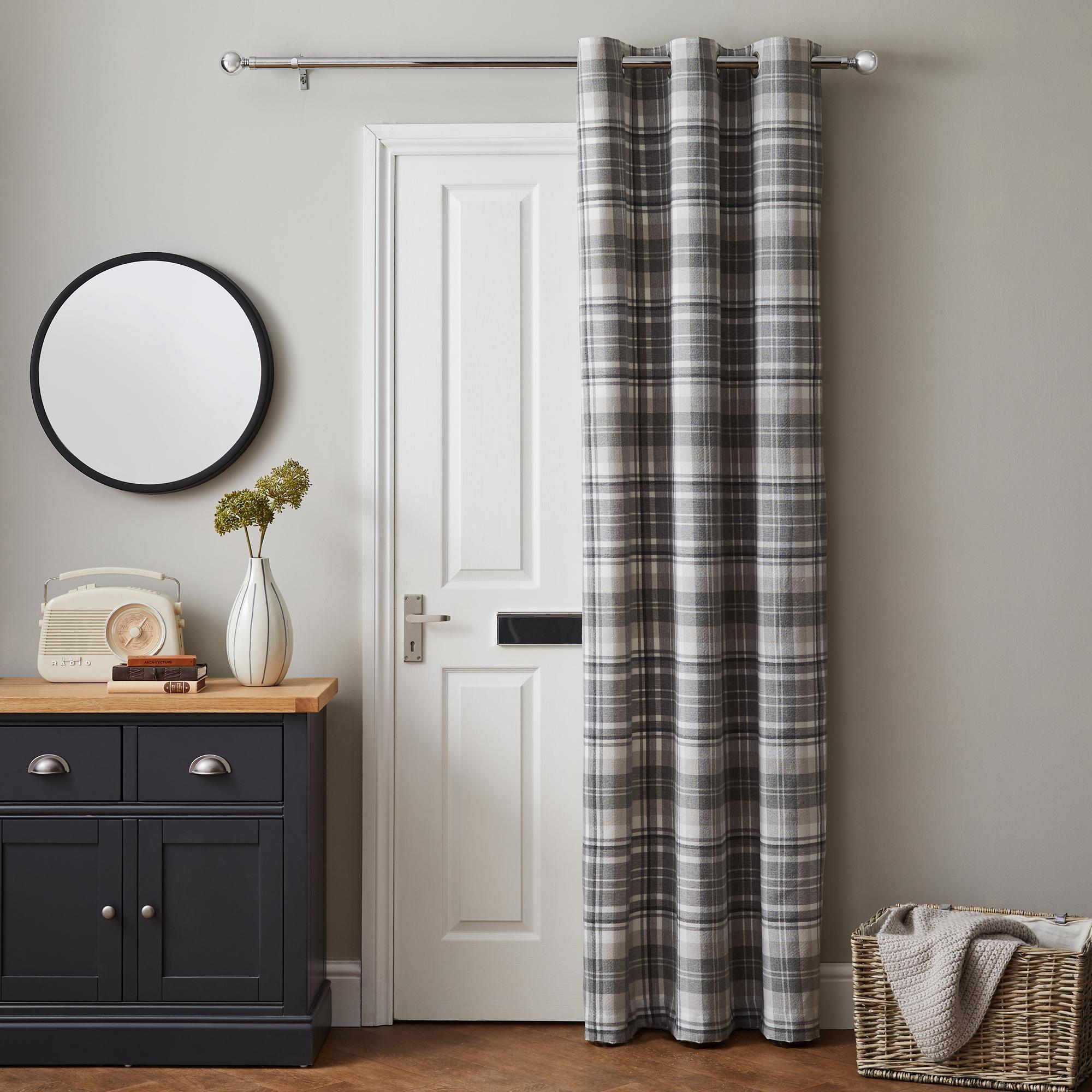 Norfolk Woven Check Grey Thermal Eyelet Door Curtain Door